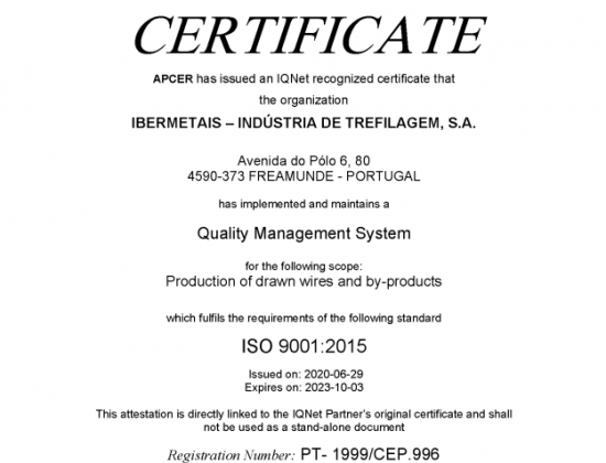 APCER IQNET ISO 9001:2015